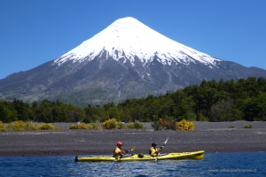 On Todos Santos Lake, with volcanoes on all sides, in the Lake District of Chile, courtesy of Yak Expeditions.