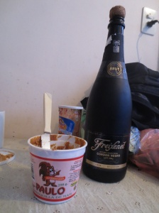 Survival diet: Bolivian peanut butter and imported champagne from La Paz.