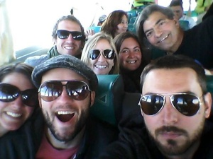 Our Holidays Bolivia crew en route to Isla del Sol on the ferry.