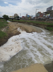 The sadly polluted Rocha River that passes through Cochabamba.