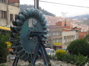 Not sure why this homage to the pelton wheel exists in the middle of La Paz, but it does, so I took a picture for certain people I know.