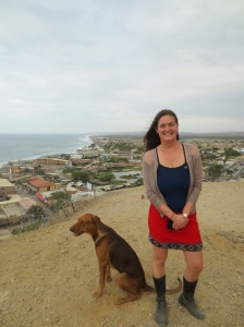 Pilar's dog Ron (Rum) and I at an overlook above Máncora.