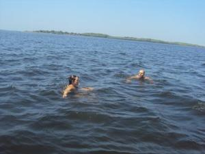 Aaron and I swimming in the Bay.