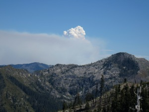 Smoke from the Whites Fire as seen from a ridge along the southwestern edge of the Marble Mountain Wilderness.