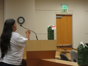 Dania speaks to the California state water board yesterday.